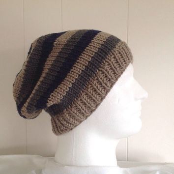 Mens slouchy beanie - Mens wool hat - Slouchy striped hat - Teens slouchy hat - Mens accessories