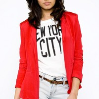 Silk Blazer In Red