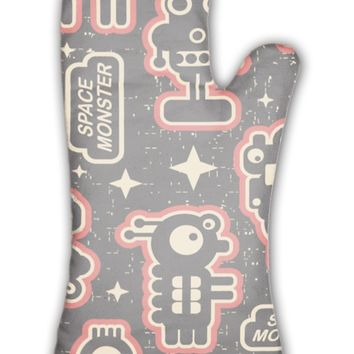 Oven Mitt, Vintage With Monsters And Robots