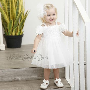 Girls White Lace Tulle Off The Shoulder Dress, Girls Flower Girls Dress, Birthday Dress, Size 1, 2, 3, 4, 5, 6