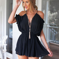 Shoulder Cutout Ruffled V-neck Romper