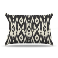 "Amanda Lane ""Black Cream Tribal Ikat"" Tan Dark Pillow Case"
