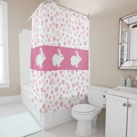 Girly Rose Pink Polka Dots Bunny Shower Curtain