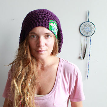 Dark Purple/Plum/Green Floral Mexican Embroidered Hippie Crochet Slouchy Tam Hat Beanie Boho By MountainGirlClothing