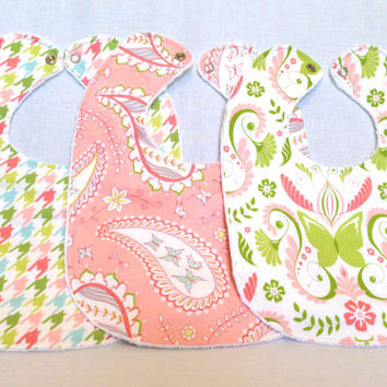 Baby Bib Set - Modern Baby Bib Set - Michael Miller Bella Butterfly - Damask, Paisley, and Houndstooth -White Minky Fabric - Handmade Baby