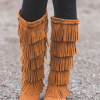 Bohemian Braided Stud Moccasin Boots (Rust)