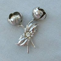 Tulips with Rhinestones Silvertone Vintage Brooch Pin Floral Jewelry