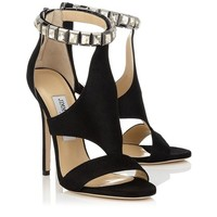 Black Shimmer Suede Sandals with Crystals | Halo | Pre Fall 14 | JIMMY CHOO Shoes