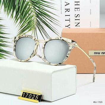 Miu Miu Popular Women Simple Summer Sun Shades Eyeglasses Glasses Sunglasses Grey I-A-SDYJ