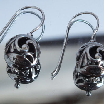 """Silver Ball Dangle Earrings With Wave Designs, 7/16"""" in Diameter, Pretty Vintage Precious Metal Ladies Jewelry, Free Shipping and Gift Box"""