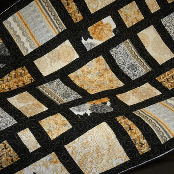 Modern Quilt in Black and Gold, Contemporary Lap Quilt, Sofa Throw, Bed Coverlet, Quilted Home Decor, Wall Hanging