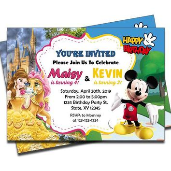 Princess Belle and Mickey Mouse - Double Birthday Invitations