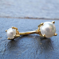 Gold Pearl Belly Button Ring