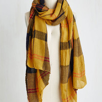 Menswear Inspired Academic Aspirations Scarf in Yellow by ModCloth