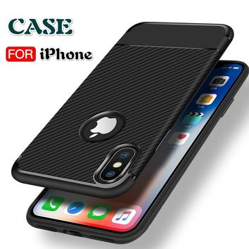 New Fashion Carbon Fiber TPU Silicone Phone Cases Ultra-thin Drop Back Cover Protection Sleeves for IPhone X / 8 / 8 Plus / 7 /