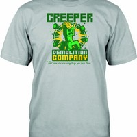 Jinx Official Licensed Minecraft CreepersDemolition Company boys T-shirt. Grey. Youth Small.