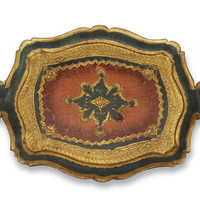 Authentic Florentine Gilded Oval Serving Tray with Carved Handles, Gilded Shabby Colors Cocktail Tray 50s