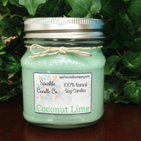 COCONUT LIME Soy Candle - 8 oz Mason Jar - Homemade Soy Candle - Scented Candle