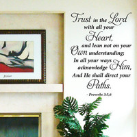 "Vinyl Wall Art Stickers Large Bible Quote"" Trust in the Lord "" Bedroom Decal"