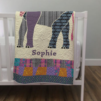 Personalized Elephant Baby Quilt