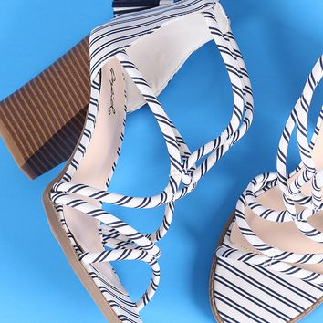Qupid Striped Strappy Chunky Heel