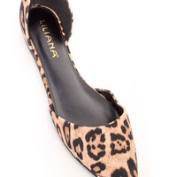 Leopard Pointy Toe Cute Casual Flats Faux Suede