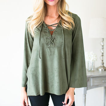 Laced in Moss Suede Like Top