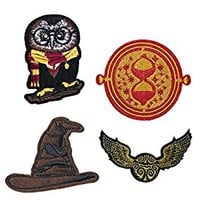Set of 4 Hogwarts Embroidery Patch Iron on or Sew on Owl, time turner, sorting hat, snitch Embroidered Motif Harry potter Transfer [Energy Class A+]