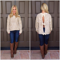 Bow Trifecta Knit Sweater - TAN & CREAM