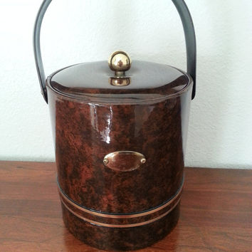 Vintage Ice Bucket Tortoise by Georges Briard - Retro Ice Bucket with Lid Insulated Padded Vinyl Gold Trim - Brown Canister