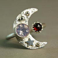 Venus Moonlight, Sterling Silver Crescent Moon Ring, Faceted Lavender Moonstone, Unique Cocktail Ring, Moon and Star Ring