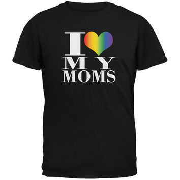 Mother's Day I Love My Lesbian Moms Pride Heart Black Youth T-Shirt