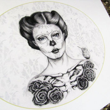 Belleza clásica Print - Day of the Dead Art