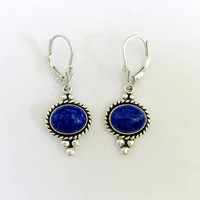 Signed, Vintage Q.T. Southwestern Earrings - Oval Blue Lapis Cabochon Set in Sterling, Southwest Inlay Earrings, 925 Silver