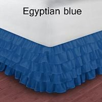 1000TC Egyptian Cotton Egyptian Blue Queen Ruffle Bed Skirt / Valance