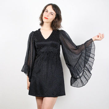 Vintage Angel Sleeve Dress Mini Dress Black Dress Goth Dress Hippie Dress Empire Waist Dress Kimono Sleeve Dress 1970s 70s Mod Dress S Small