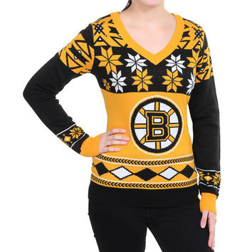 """Boston Bruins Women's Official NHL """"Big Logo"""" V-Neck Sweater by Klew"""