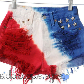American Flag star studded shorts by Kaleidoscope Eyes