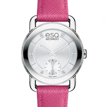 ESQ Movado Ladies Diamond Classica Watch - Pink Leather Strap - Stainless Steel