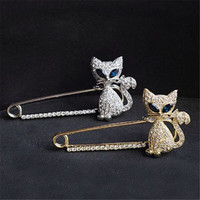 Gold Silver Plated Animal Brooches Pins Green Eye Crystal Cat Brooches  SM6