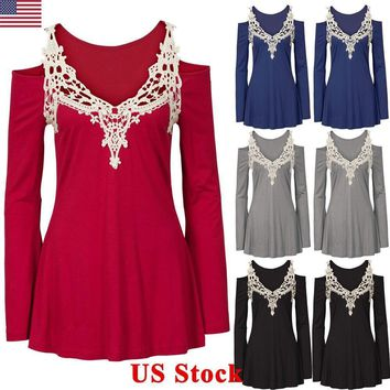 Ladies Women Off Shoulder Blouse Crochet Lace Casual Long Sleeve T Shirts Tops