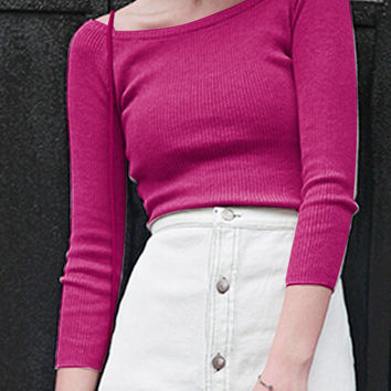 Pink Long Sleeve Knitted Crop Top