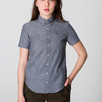 American Apparel - Unisex Chambray Short Sleeve Button-Down with Pocket