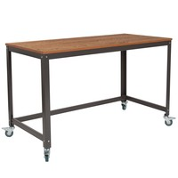 Livingston Collection Computer Table Desk in Wood Finish Metal Wheels