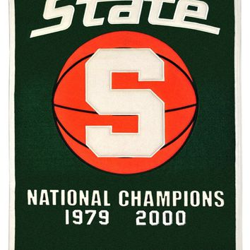 Michigan State Spartans Banner 24x36 Wool Dynasty Basketball