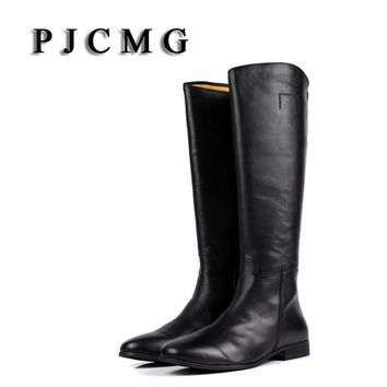 PJCMG New Autumn/Winter Men's Outdoor High Quality Genuine Leather Knee-High Waterproof Snow Boots Tooling Boots Plush Shoes