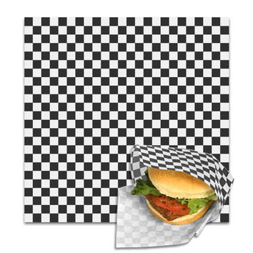Black Check Deli Paper Wrap Basket Liners 1000 Ct