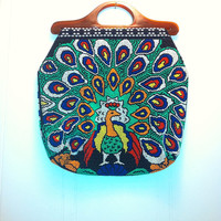 Vintage beaded Peacock Purse with Lucite Handles