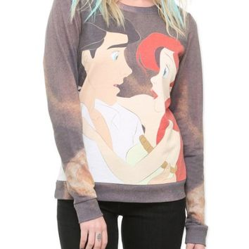 Disney The Little Mermaid Ariel & Eric Crew Pullover Size : X-Small