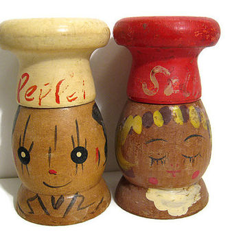 Vintage Wooden Painted Chef People Salt and Pepper Shaker Set